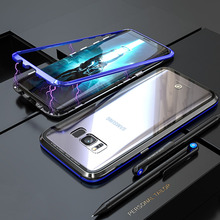 Luxury Metal Bumper Case Magnetic Adsorption Flip Case for Samsung Galaxy S8 S9 Plus Note 8 Tempered Glass Cover
