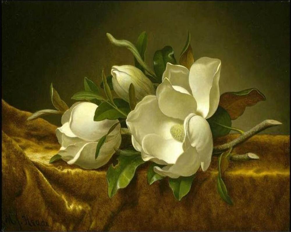 Beibehang Custom Wallpaper Vintage Luxury White Magnolia Flower Tv