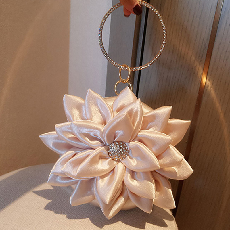 Petal Handbag Crystal Wristlets Mini Silk Totes Champagne Clutch Women Bridal Wedding Chain Box Bag Purse Evening Party Bags