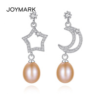 JOYMARK New Fashion 925 Sterling Silver Shining Star Moon Natural Pearl Stud Earrings Brincos For Party JPSE033
