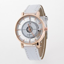 Relojes Mujer 2018 New Hot Sale Fashion Ladies white Leather strap Transparent hollow Quartz watch Holiday Gift