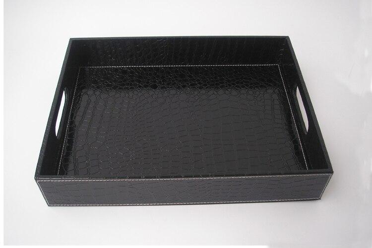 Plateau de service en cuir noir | croco rectangle, plateaux bandejas pour la vaisselle, fruits collations stockage avec poignée découpée 40x30cm - 5
