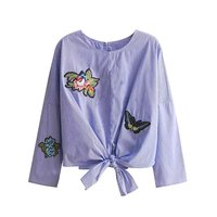 S M L Women S Female Blue Striped Shirt Bow Hem Lace Embroidery Shirts New Spring