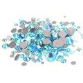 Aquamarine AB Não Hotfix Pedrinhas Cristal Facetas Natator Cola Na Diamantes Strass Chatons De Vidro DIY Artesanato Roupas Suprimentos