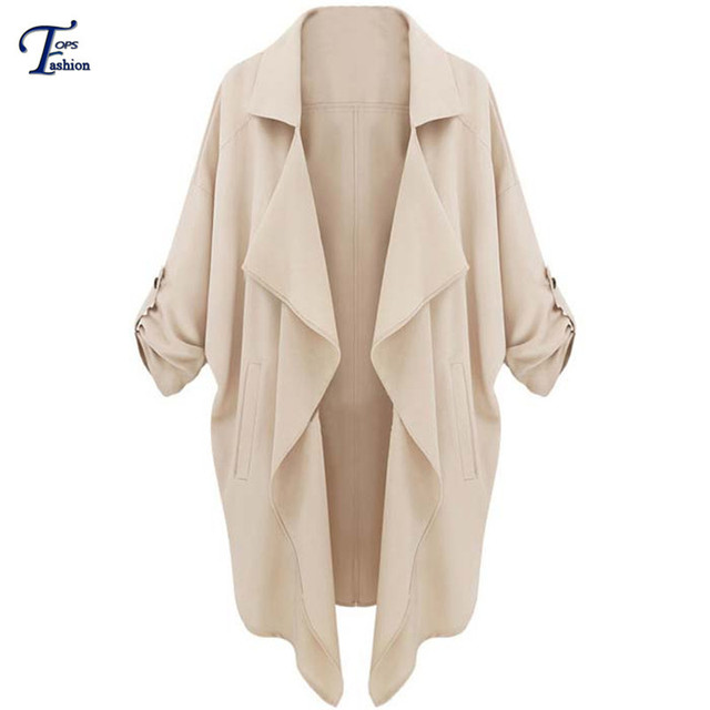 2016 New Brand Spring Outwear Casual Jacket Women Fashion Clothing High Street Beige Long Sleeve Loose Pockets Coat