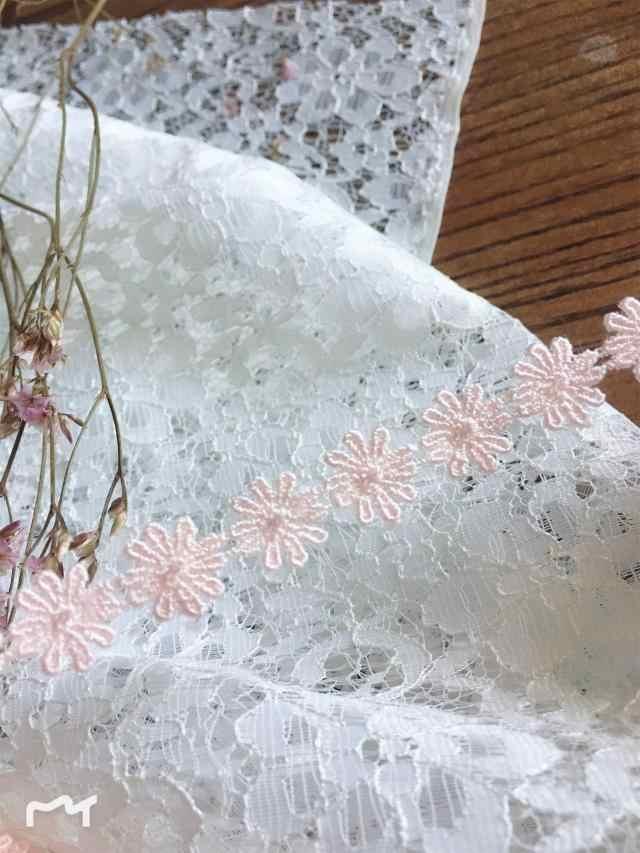 Розовый цветок водорастворимым молочного шелка вышитый цветок кружева аксессуары Ширина 1,5 см