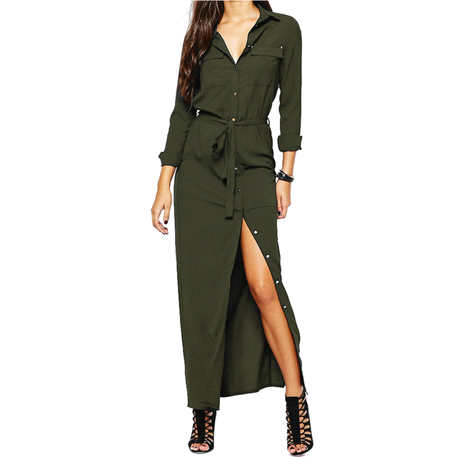 Women Long Sleeve Maxi Dress Autumn 2017 New Fashion Collar Buttons Long Shirt Dresses Open Slit Women Casual Dress Green Blue