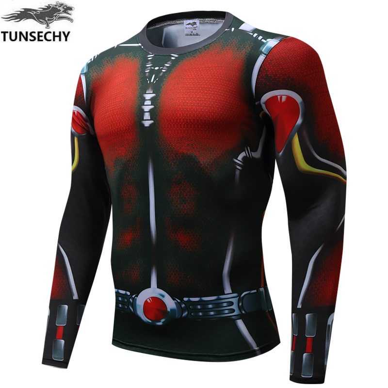 2017 spider man long sleeve compression tights miracle quick-drying fitness 3D hero superman T-shirt Wholesale and retail