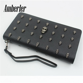 Amberler Women Wallet PU Leather Zipper Long Skull Clutch Bag High Quality Ladies Luxury Cards Holder Fashion Female Coin Purse image