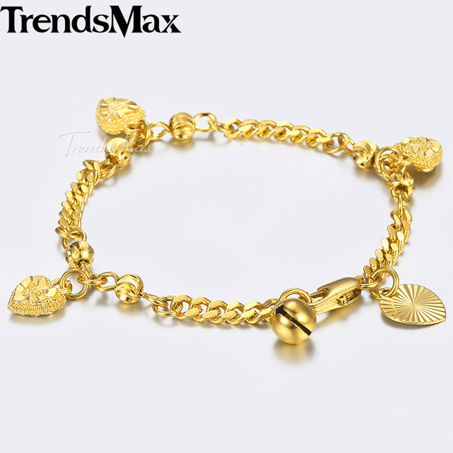 Kids Bracelet Yellow Gold Curb Cuban Link Chain Bangle Heart Bell Charm Bracelets For Baby Jewelry