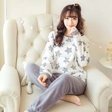 2016 women's autumn and winter coral fleece sleep set female set casual lounge pants twinset free shipping