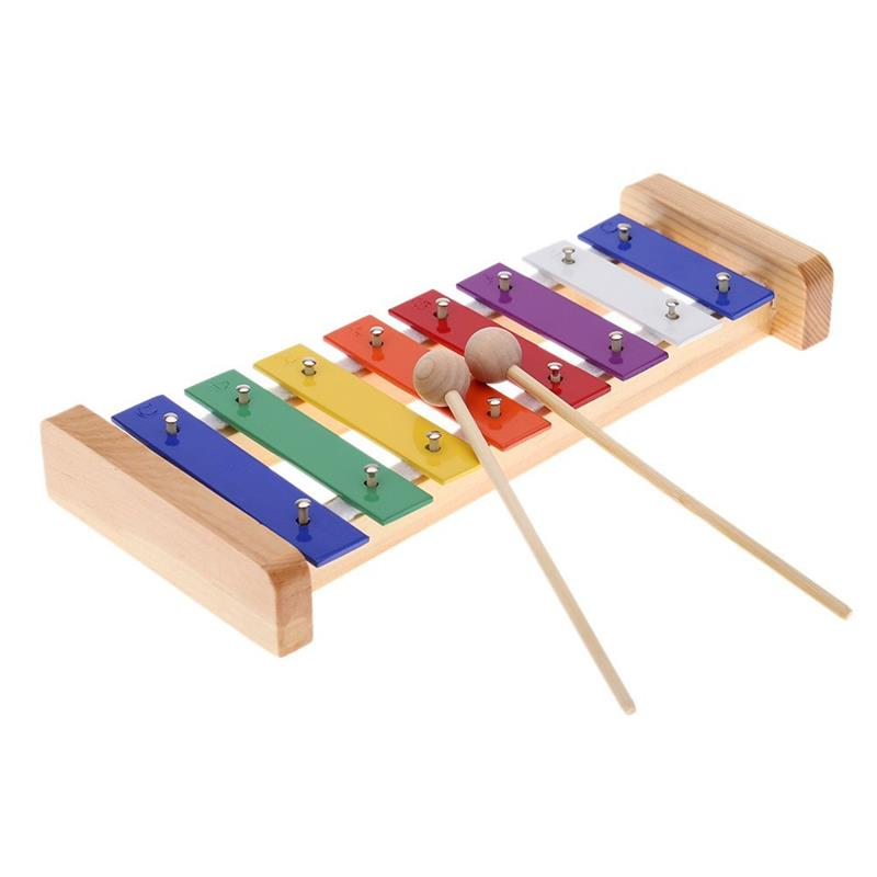 Xylophone Toy 8-Note 3mm Colorful Aluminum Plate C Key Toddle Kid Musical Toy For Kids Toddler Children Education Instrument ...