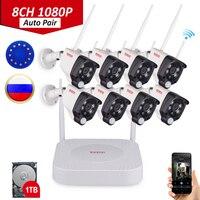 Tonton 8CH 1080 P Аудио запись PIR сенсор беспроводной CCTV системы Wi Fi NVR комплект 2MP Открытый IP камера безопасности комплект 1 ТБ HDD