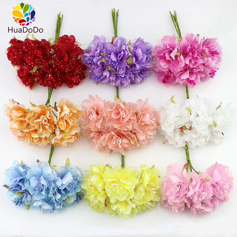 6pcs 4cm silk carnations with gauze stamen artificial for Artificial flower decoration mandap