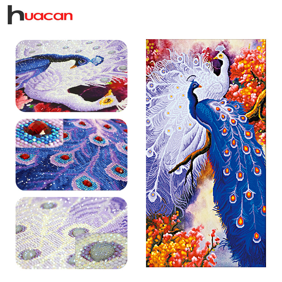 Huacan,Special Shaped,Diamond Embroidery,Couple Peacock,Kits,DIY 5D,Diamond Painting,Cross Stitch,Animals,Wall Art Decoration