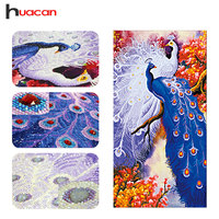 Huacan Special Shaped Diamond Embroidery Couple Peacock Kits DIY 5D Diamond Painting Cross Stitch Animals Wall