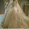 Full Hand beading ande Lace Appliques Long sleeve Wedding gowns 2016 Elegant Custom made Ball gown Wedding dress 0482