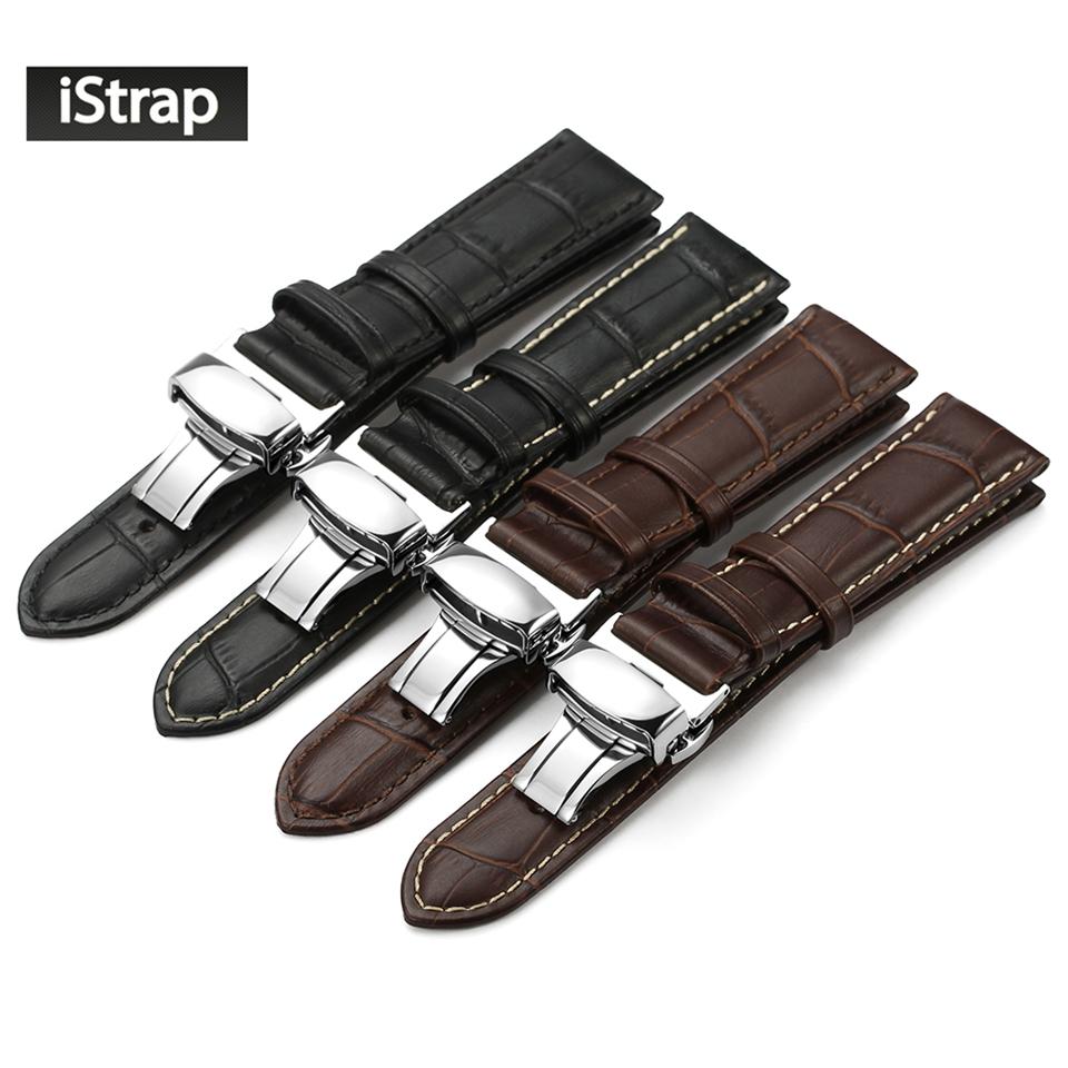 Prix pour IStrap Véritable Bracelet En Cuir Avec Butterfly Boucle Bandes Croco Grain Bracelet pour montre de taille en 14 16 18 19 20 21 22 24mm