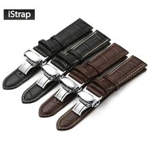 Istrap Натуральная кожа ремешок для часов с Бабочкой Пряжка Полосы крокодиловый браслет для часов размер в 14 16 18 19 20 21 22 24 мм