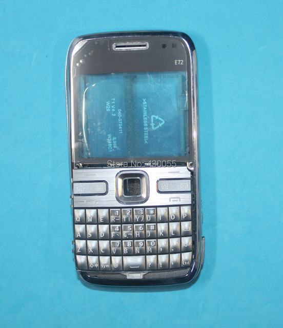 Gray Color Full Housing Cover Case+ Keyboards + Outer glass screen For Nokia E72 with LOGO Free shipping tracking#