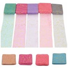 6cm*5yards Tissue Paper Tulle Roll Golden Star Printed Organza Sheer Gauze Fabric Birthday Wedding Home Garden Craft Supplies