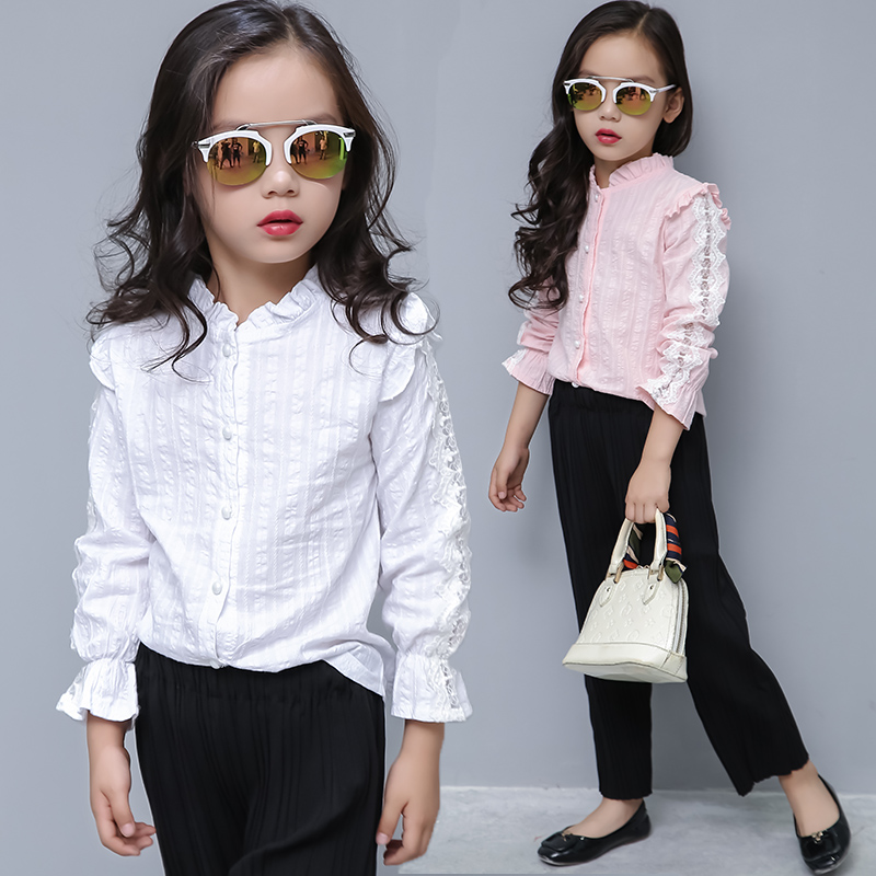 Kids Blouse Girl Cotton Solid Blouses for Girls 2018 New Autumn Full Sleeves Shirts for Girl Sweet Pink Children Clothing 7bs010 цена