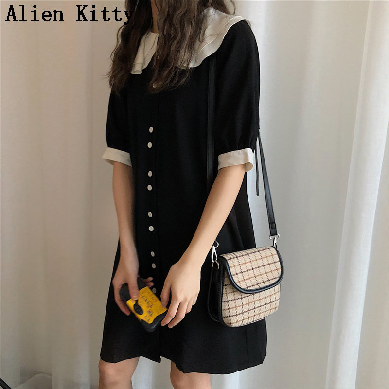 Alien Kitty  2019 Fashion Spring Double Layers Elegant Female Vintage Short Sleeves Casual Solid Fresh Loose Dresses 2 Colors Платье