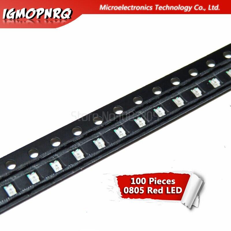 100pcs Red 0805 SMD LED Diodes Light