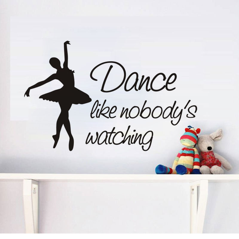 US $9.97 25% OFF|Dance Like Nobody's Watching Quotes Wall Stickers Ballet Dancer Vinyl Wall Decal Teens Bedroom Removable Monogram Decor ZA368 in Wall
