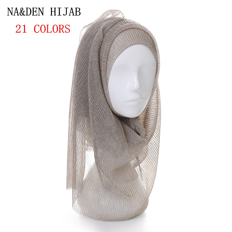 21 COLOR NEW shimmer pleated hijab scarf plain shiny crinkle shawl fashion muslim wrinkle hijabs women
