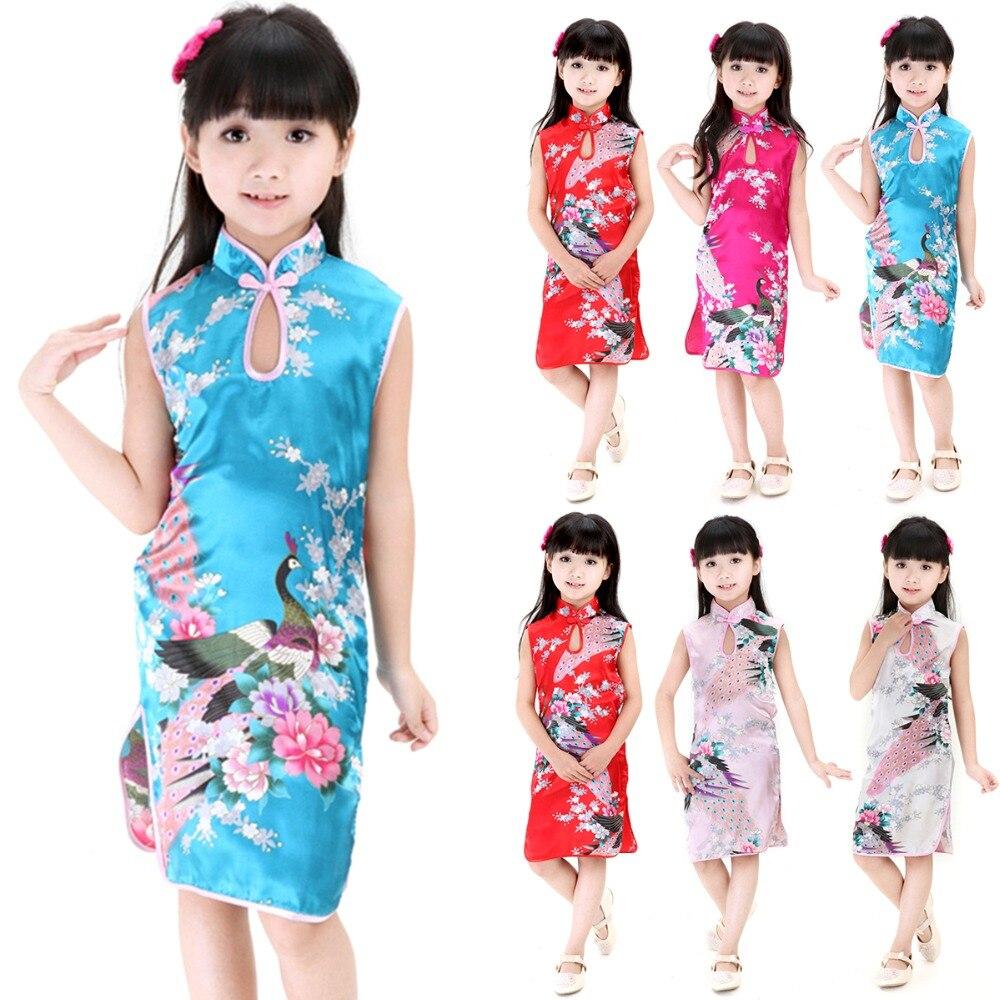 Venda quente 2y-8y bebê menina vestido pavão sem mangas magro tradicional vestido cheongsam criança meninas roupas estilo chinês qipao