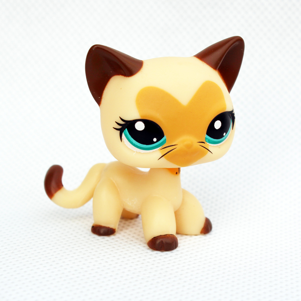 Rare Pet Shop Toys #3573 Yellow Short Hair Cat Original Animal Standing Kitty Collectible Gifts For Child