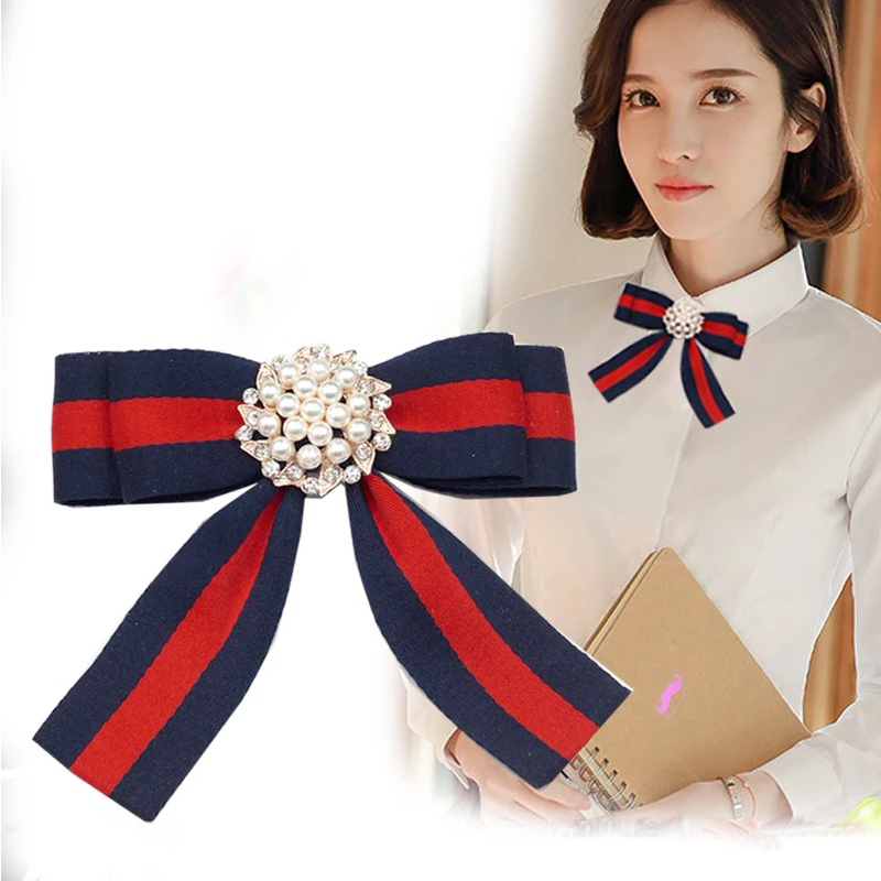 Fabric Bow Brooches for Women Necktie Style Brooch Pin