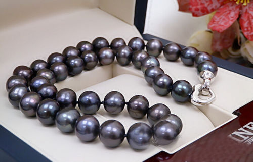 FREE SHIPPING Hot sale new Style  Black Colors Real Pearl 13-14mm AAA Natural Pearl Handmade Necklace WeddingFREE SHIPPING Hot sale new Style  Black Colors Real Pearl 13-14mm AAA Natural Pearl Handmade Necklace Wedding