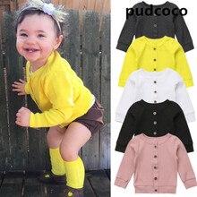 Повседневный вязаный свитер с длинными рукавами для новорожденных девочек, пальто-кардиган, топы, 5 цветов