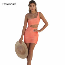 Dower me One shoulder Summer dress Above Knee Draped Sheath Night Club Sleeveless Women Pink Green Yellow Hollow Out Y168