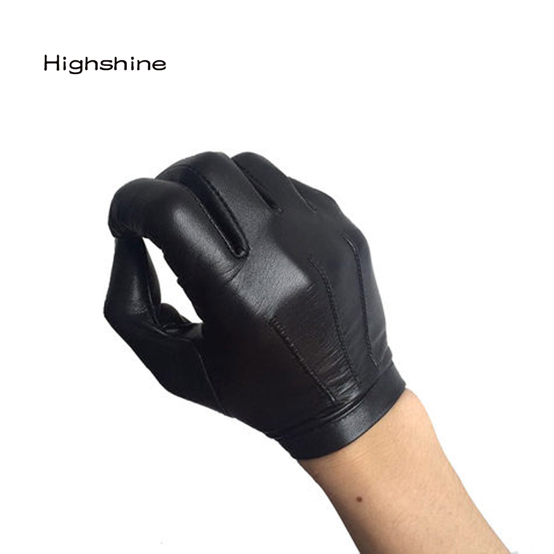 Male Winter Warm Leather Glove Wrist Button One Whole Piece Of  Men's  Gloves Black Real Sheepskin Black Touch Screen  Gloves