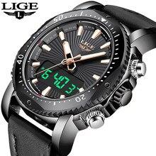 c251541df01 2019 Nova LIGE Mens Relógios Top Marca de Luxo dos homens Relógio de Quartzo  Homens Esportes relógio de Pulso À Prova D  Água Re.