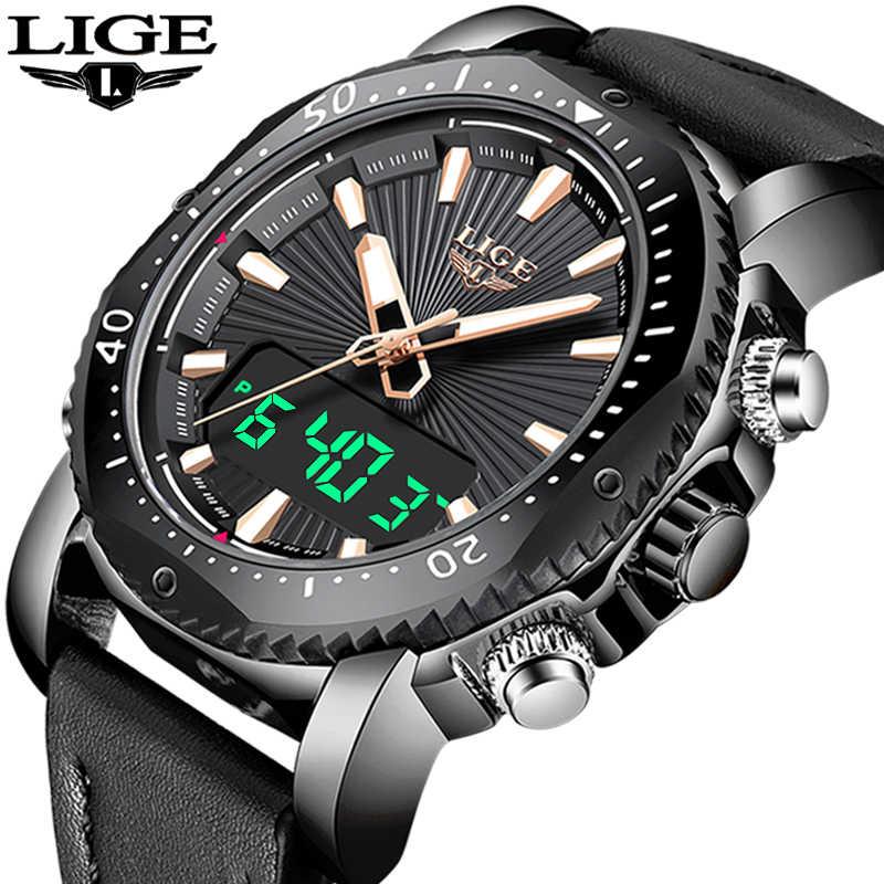 2019 nouveau LIGE hommes montres Top marque de luxe hommes analogique numérique montre à Quartz hommes sport étanche montre-bracelet Relogio Masculino