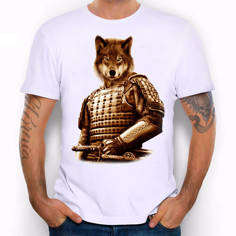 The Wolf Samurai Warrior Japan Soldier Sward Funny Joke Men T Shirt Tee
