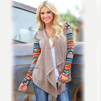 Women Autumn Winter Long Sleeve Irregular Knitted Cardigans Casual Vintage Sweaters Boho Striped Geometric Print Outwear como vestir con sueter mujer
