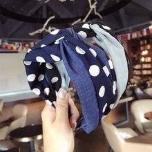 Korea Color Matching Denim fabric Polka Dot  Hair Accessories For Girls Top Knot Cross Hair Band Hair Bow Headbands For Women knot side polka dot peplum top