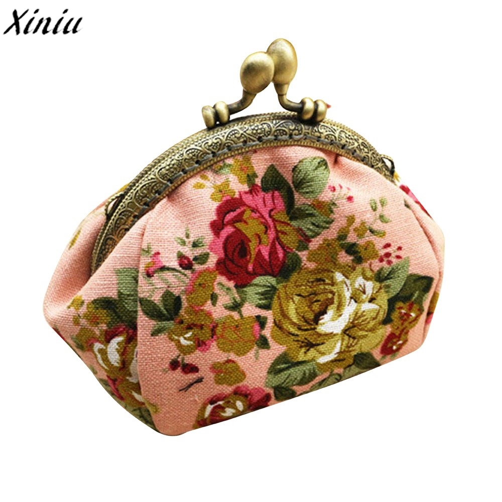 Vintage Mini Wallet Women Floral Retro Coin Purse Small Fresh Flower Coin Pouch Hasp Purse Clutch Bag Porte Monnaie #7322