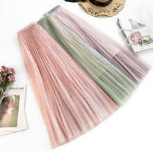 AcFirst Spring Pink Purple Green Women Skirt High Waist Mid-Calf Long Skirts Clothing Mesh A-Line Sexy Plus Size