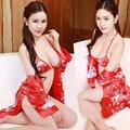 New style sexy womens lingerie mulheres nightwear erótico collant uniforme casa teddy roupas vestido barrigueira pijama traje vermelho