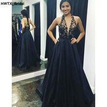 Elegant A-line Long Black Bridesmaid Dresses 2018 Sexy Backless Vestidos  dama de honor New Applique Lace Dress for Wedding Party 07a7fef34932