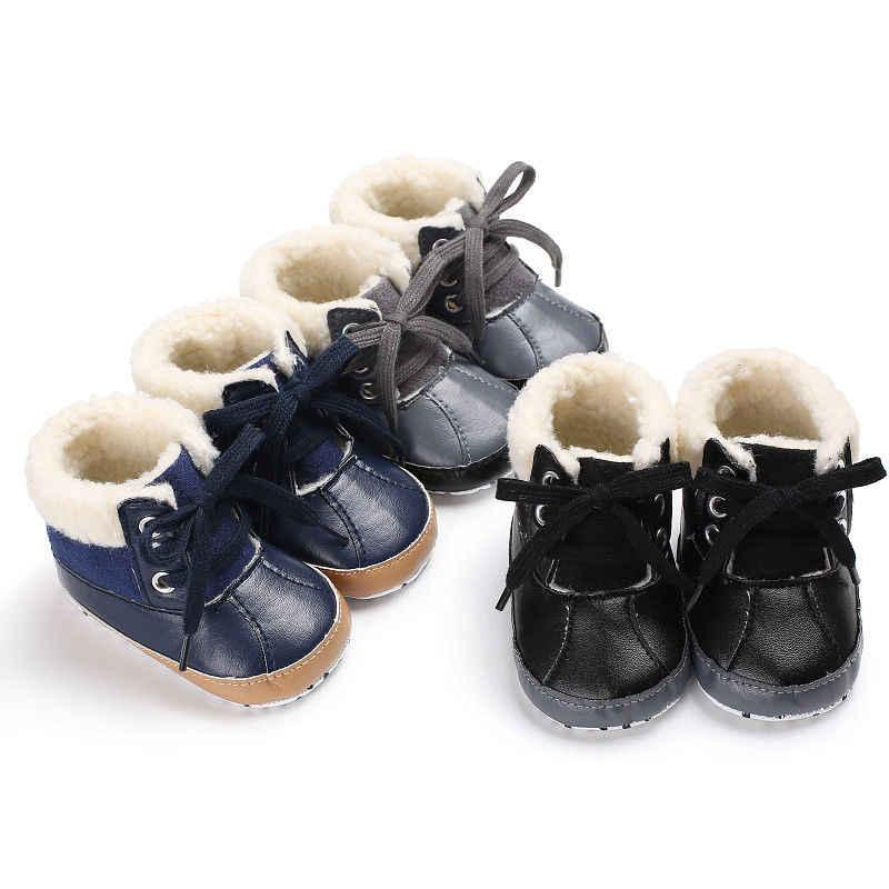 2018 Thương Hiệu New Sơ Sinh Trẻ Sơ Sinh Bé Trai Mùa Thu Khởi Động Mùa Đông Da Ren Up Trifle Quan Hệ Nhân Quả Giày Em Bé Mềm Mại Duy Nhất Lông giày 0-18 m