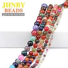 JHNBY-Cuentas de turmalina Natural AAA, abalorios redondos facetados de 4/6/8/10MM, joyería, pulsera, accesorios de fabricación de bricolaje