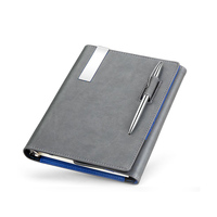 Highend a5 genuine leather notebook office stationery commercial writing pads notepad loose leaf spiral binder with rings diary