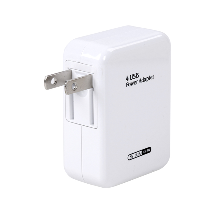 4 USB Ports Foldable US Plug Charger,DC 5V,2.1A,15.5W Power Adapter,Used for iPhone,iPad,Samsung and Other Mobile Phones,Tablets